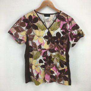 Cherokee Flexibles M Brown Scrub Top Floral